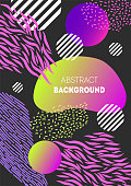 Modern abstract background. Geometric poster decorated with different stripes, gradient shapes and striped circles.