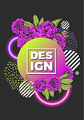 Modern abstract background. Geometric poster decorated with flowers, neon circles, gradient shapes.