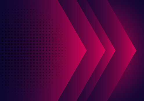 Modern abstract background pink, purple and blue gradient arrow shape overlapping layer with halftone effect