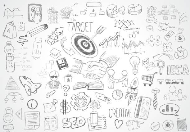 illustrations, cliparts, dessins animés et icônes de arrière-plan abstrait moderne avec la main dessin doodle sketche - tableaux et graphiques