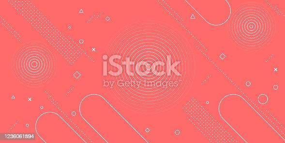 istock Modern abstract background with red pink pastel and retro-themed memphis elements for posters, banners and website landing pages. 1236061894