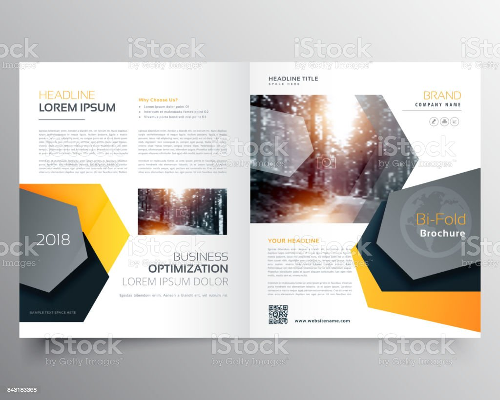 modern abstract bifold business brochure template or magazine cover