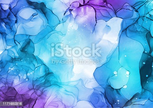 Modern abstract blue and purple colors alcohol ink texture in vector