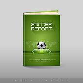 Modern abstract brochure as book flyer design template. Soccer(football) theme.