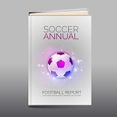 Modern abstract brochure as book flyer design template. Soccer and football theme. Vector layout.