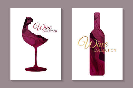 Set of two cards with red glass and bottle in alcohol ink style on a white background.