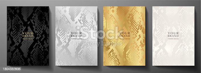 istock Modern abstract cover design set. Luxury black, gold, silver background with animal print (snake skin pattern) 1304332835