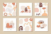 Modern abstract cover templates set. Poster background composition. Collage with organic shapes. Earthy colors. Brochures, banners, presentations, branding design. Vector illustration