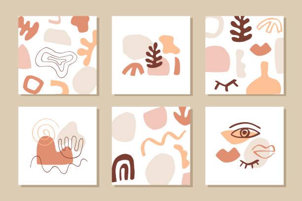 ilustrações, clipart, desenhos animados e ícones de modelos de capa abstratamodernos definidos - organic shapes