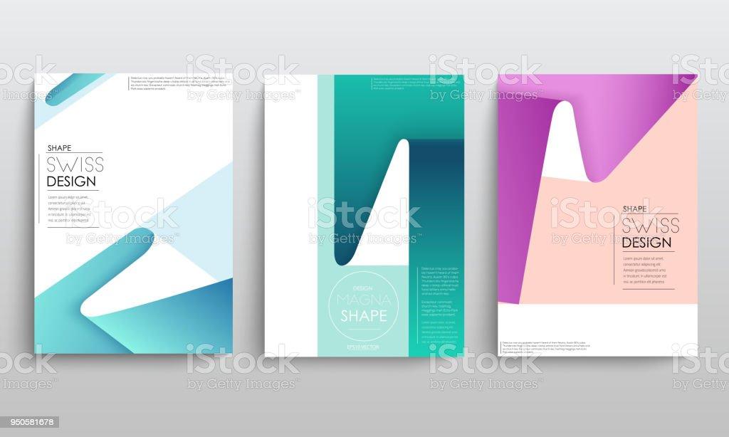 Modern abstract covers set. Cool gradient geometric shapes composition. Futuristic design. Eps10 vector - illustrazione arte vettoriale