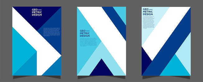 Modern abstract covers set, minimal covers design. Blue color geometric background.