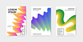Modern abstract covers set with futuristic design. Trendy twisting shapes on minimal design