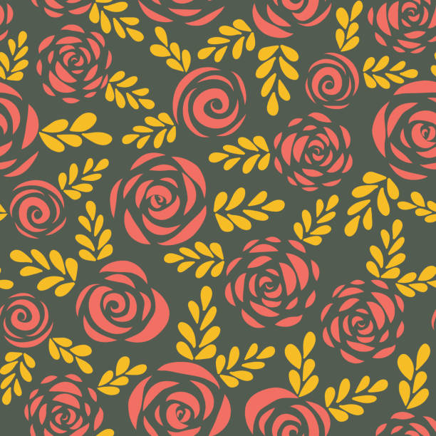 Modern abstract flat roses and leaves red gold vector art illustration