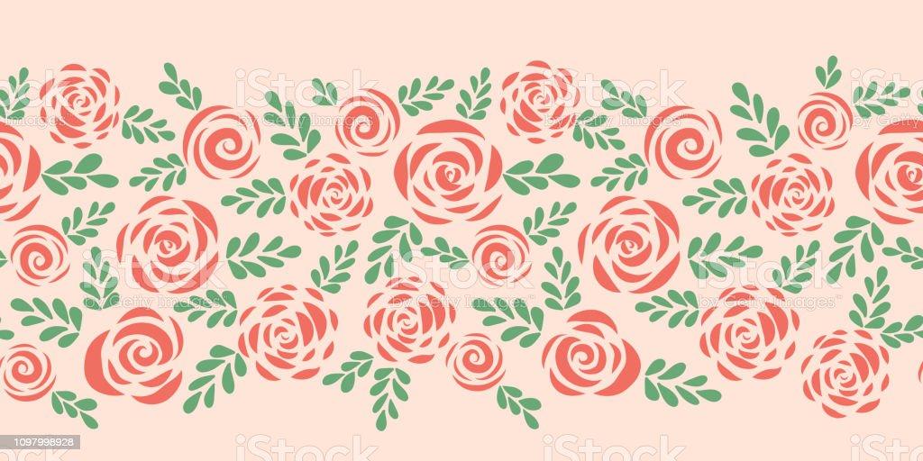 Modern abstract flat roses seamless vector border vector art illustration