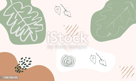istock Modern abstract floral art vector leaves background. Hand draw leaves and line art background for social media, cover, interior decor. 1296266435