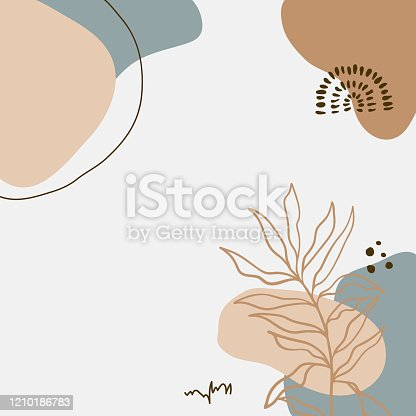 istock Modern abstract floral art vector leaves background. 1210186783
