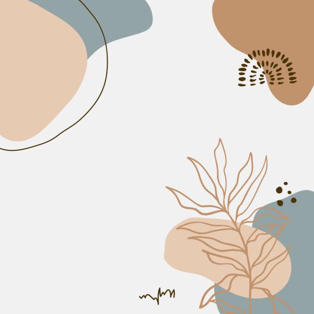 nowoczesny abstrakcyjny wektor sztuki kwiatowej pozostawia tło. - pastelowy kolor stock illustrations