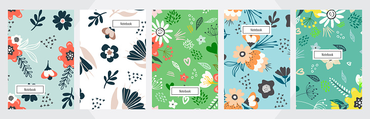 Modern abstract floral art vector notebook background. Hand draw