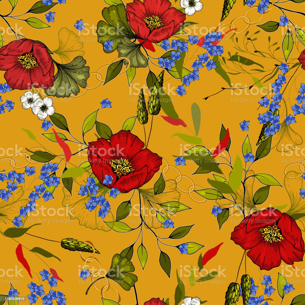 Vector Tropical Leave Wallpaper Yellow Daisies Stock Vector
