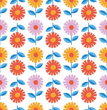 Modern abstract floral seamless pattern. Scandinavian cutout style.