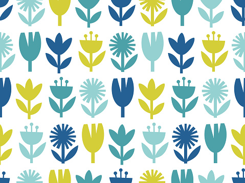 Modern abstract floral seamless pattern.