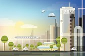 modern abstract futuristic urban cityscape in trendy flat design style