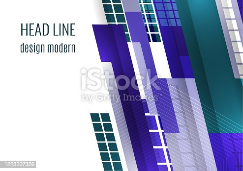 Modern abstract geometric background. Colorful tilted rectangles and squares. Place for text. Corporate design. Vector illustration