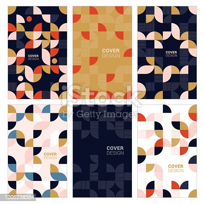 Modern abstract geometric cover templates stock illustration