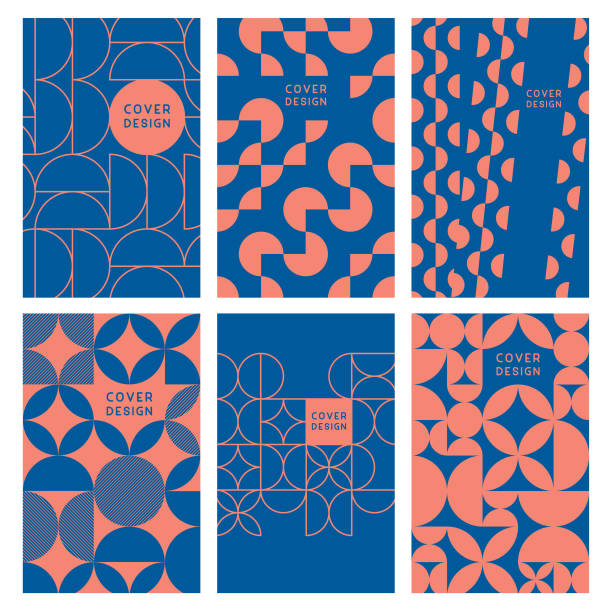 Modern abstract geometric cover templates Editable set of vector illustrations on layers. book patterns stock illustrations