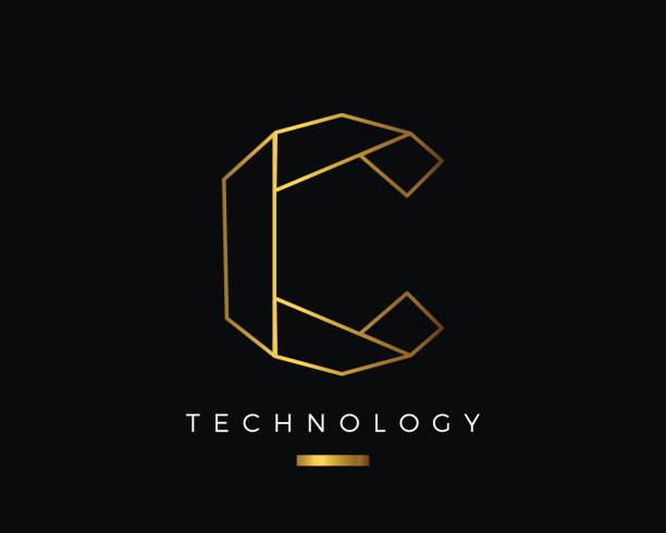 modern abstract gold alphabet letter c technology symbol - alphabet clipart stock illustrations