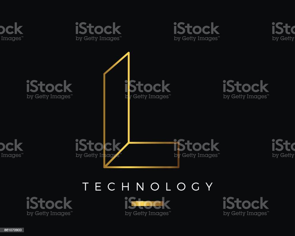 Moderne abstrakte Gold Alphabet Buchstaben L Technologie – Vektorgrafik