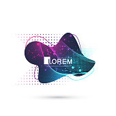 Modern abstract graphic design element with geometric lines and dots. Geometrical dynamic shape for your design. Scientific vector illustration.