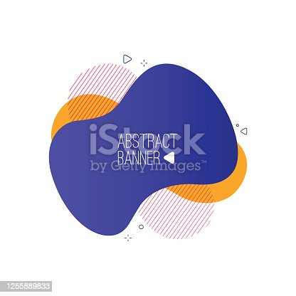 istock Modern abstract liquid shapes and banners. Fluid design. Isolated gradient geometric lines, dots. Vector Illustration. Vibrant badges. stock illustration 1255889833