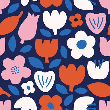 Modern abstract natural floral seamless pattern. Scandinavian cutout style. Contemporary aesthetic art for fabric or wrapping paper, wall art, social media post, packaging.