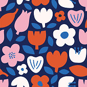 Modern abstract natural floral seamless pattern. Scandinavian cutout style. Contemporary aesthetic art for fabric or wrapping paper, wall art, social media post, packaging. stock illustration