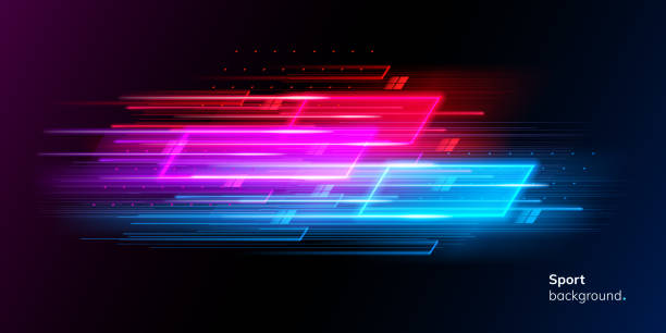 modern abstract neon sport background or collage - насыщенный цвет stock illustrations