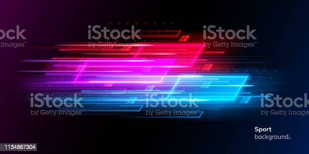 Modern Abstract Neon Sport Background Or Collage - Arte vetorial de stock e mais imagens de Abstrato