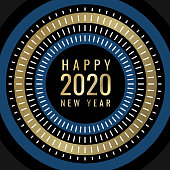 modern abstract fireworks with happy new year 2020 wishes on circle shape with golden shining elements.  You can edit the colors or sizes easily if you have Adobe Illustrator or other vector software. All shapes are vector