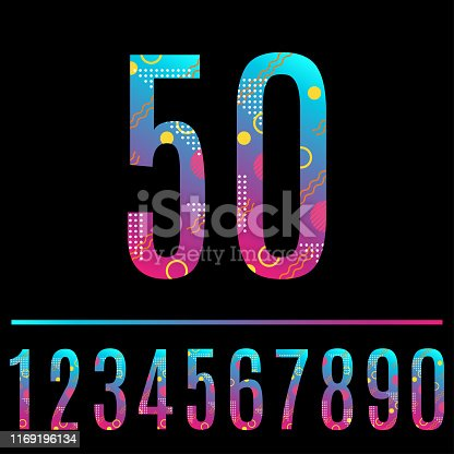 istock Modern abstract number. Colorful number 50 with geometric texture. Anniversary, birthday, greeting card, poster and banner design element. Vector illustration. 1169196134