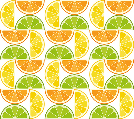 Modern abstract seamless pattern with citrus slices.