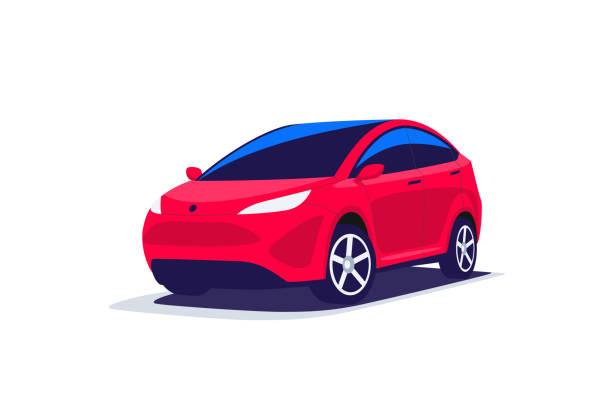 stockillustraties, clipart, cartoons en iconen met moderne abstracte suv rode parkeerplaats geïsoleerd - auto