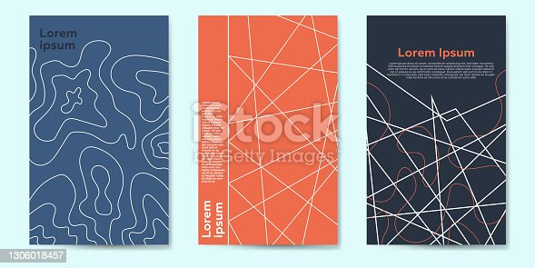istock Modern abstract topography geometric covers set 1306018457
