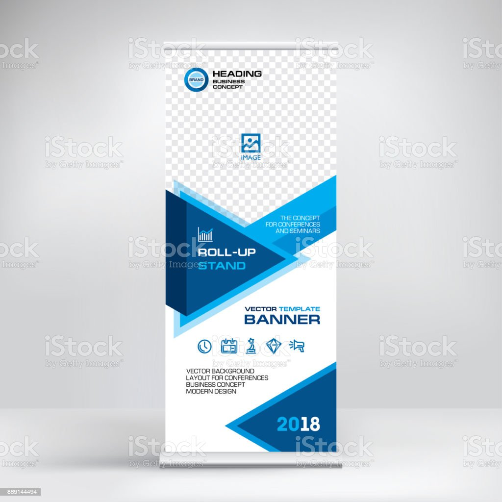 Modern advertising banner, roll-up, design for placement of photos and text. Stand for conferences and business forums, stylish blue vector background vector art illustration
