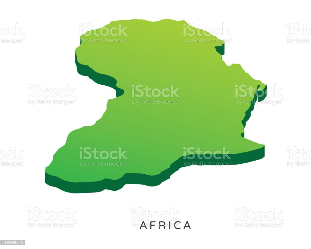 Modern Africa Isometric 3d Continent Map Illustration Stock ...