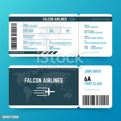 Modern airline travel boarding pass ticket vector template. Ticket airplane and airline, travel flight air illustration