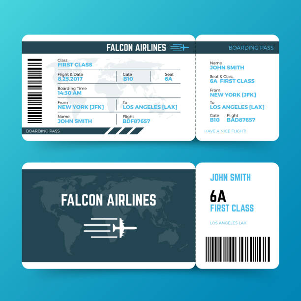 Modern airline travel boarding pass ticket vector template Modern airline travel boarding pass ticket vector template. Ticket airplane and airline, travel flight air illustration airplane ticket stock illustrations