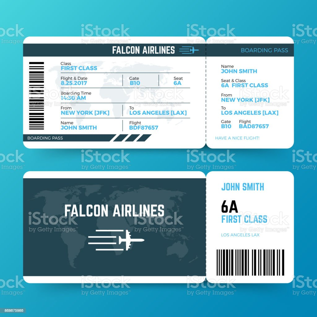 Moderne Fluggesellschaft reisen boarding Pass Ticket Vektor Vorlage – Vektorgrafik