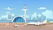 istock Modern Airport Terminal and Runaway Cartoon Vector 1130188074