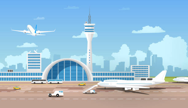 Modern Airport Terminal and Runaway Cartoon Vector City Airport Terminal Cartoon Vector with Flying After Taking Off Airliner, Airplane Standing on Runway, Taxi and Buses Bringing Passengers to Flight Illustration. Traveling with Air Transport Concept airport stock illustrations