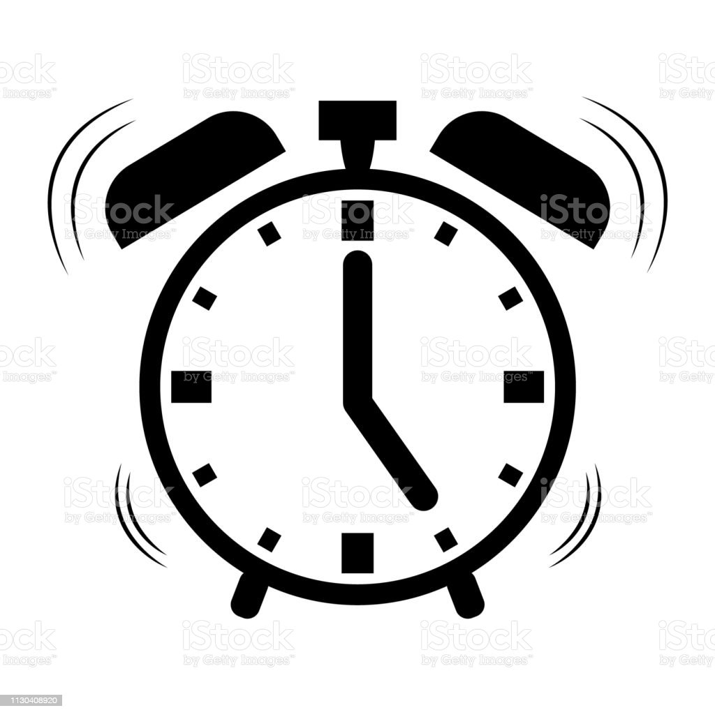 Modern Alarm Clock Vector Icon Isolated On White Background